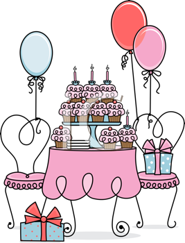 Royalty Free Clipart Image of a Table of Cupcakes With Balloons and Gifts