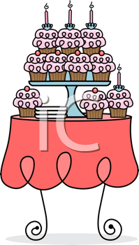 Royalty Free Clipart Image of a Cupcake Table