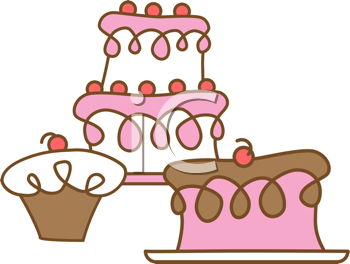 Royalty Free Clipart Image of Cakes and Cupcakes