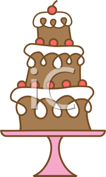 Royalty Free Clipart Image of a Tiered Cake