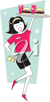 Royalty Free Clipart Image of a Girl With a Tray of Food