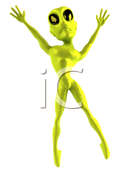 Royalty Free Clipart Image of a Jumping 3D Alien