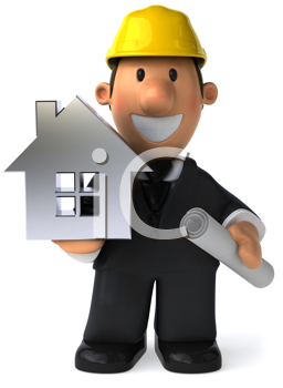 Royalty Free Clipart Image of an Architect With a House