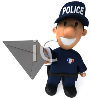 Royalty Free Clipart Image of a Police Officer With a Letter