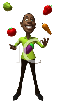Royalty Free 3d Clipart Image of an African American Man Juggling Vegetables