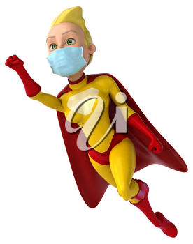 3D Illustration of a superhero with a mask