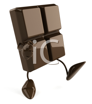 Royalty Free Clipart Image of a Piece of Chocolate Walking