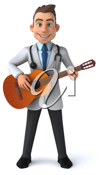 Fun doctor and guitar - 3D Illustration