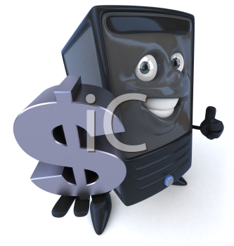 Royalty Free 3d Clipart Image of a Computer Holding a Large Dollar Sign