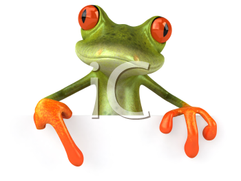 Royalty Free 3d Clipart Image of a Frog Holding a Blank Sign Board