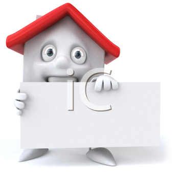 Royalty Free 3d Clipart Image of a House Holding a Blank Sign