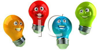 Royalty Free 3d Clipart Image of Colorful Light Bulbs