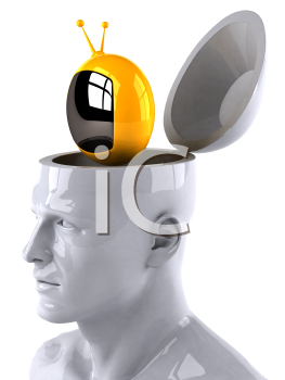 Royalty Free 3d Clipart Image of a Male Thinking About a Television