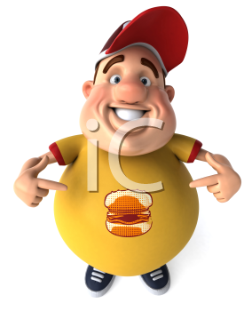 Royalty Free Clipart Image of an Overweight Man Pointing to the Burger on His Shirt