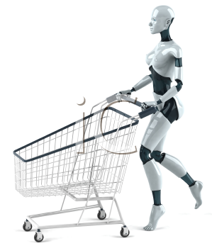 Royalty Free 3d Clipart Image of a Female Robot Pushing a Shopping Cart