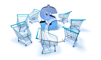 Royalty Free 3d Clipart Image of Shopping Carts With a Dollar Sign in the Centre
