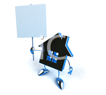 Royalty Free 3d Clipart Image of a House Holding a Sign