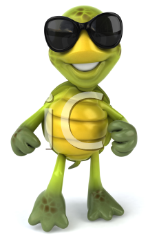 Royalty Free 3d Clipart Image of a Turtle Wearing Sunglasses