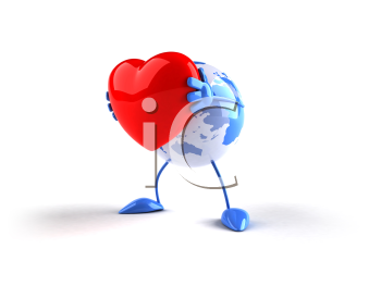 Royalty Free 3d Clipart Image of a Globe Holding a Heart