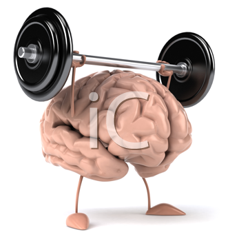 Royalty Free Clipart Image of a Weightlifting Brain