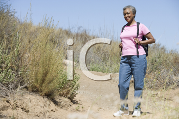 Royalty Free Photo of a Senior Woman on a Trail