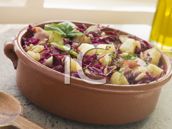Royalty Free Photo of Potato Bacon and Pickled Red Cabbage Salad