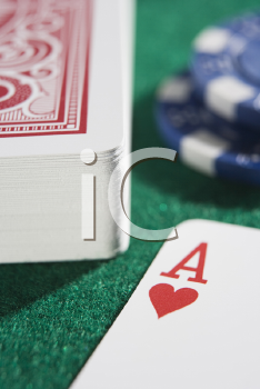 Royalty Free Photo of a Deck of Cards With the Ace of Hearts Up