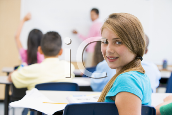 Royalty Free Photo of a Student Looking Back in Class