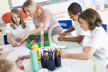 Royalty Free Photo of Students in an Art Class