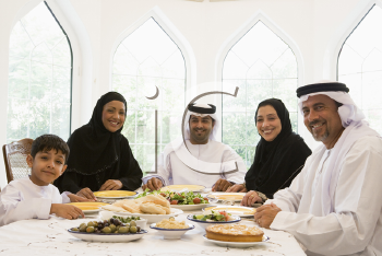 Royalty Free Photo of a Middle Eastern Family at a Dinner