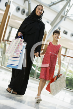 Royalty Free Photo of a Woman and Her Daughter at the Mall