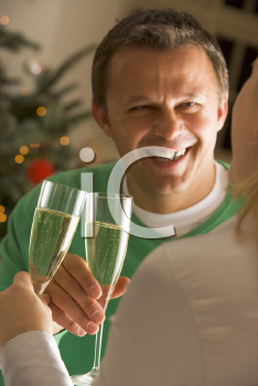 Royalty Free Photo of a Man and Woman Drinking Champagne