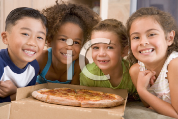 Royalty Free Photo of Four Children With Pizza