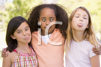 Royalty Free Photo of Three Girls Making Faces
