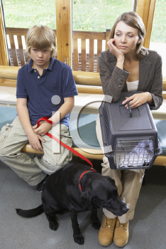 Royalty Free Photo of People in a Vet's Waiting Room