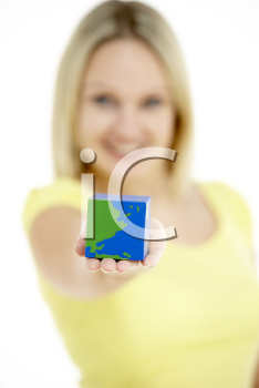 Royalty Free Photo of a Woman With a Cubed Globe