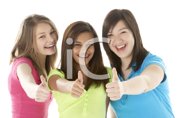 Royalty Free Photo of a Group of Teenage Girls Giving Thumbs Up