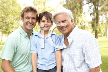 Royalty Free Photo of Three Generations of Men Outside