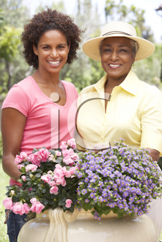 Royalty Free Photo of a Mother and Adult Daughter in a Garden