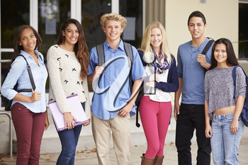 Portrait Of High School Students Standing Outside Building