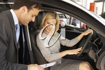 Woman buying new car
