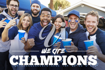 We are Champions Fans Tailgating In Stadium Car Park