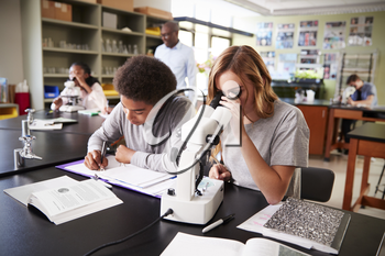 High School Students Looking Through Microscope In Biology Class