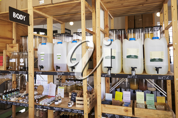 Dispensers For Body And Beauty Products In Sustainable Plastic Free Grocery Store