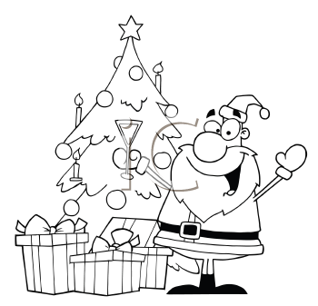Royalty Free Clipart Image of Santa Beside A Christmas Tree