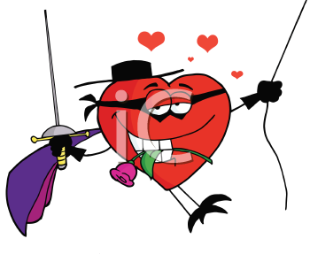 Royalty Free Clipart Image of a Masked Romantic Heart