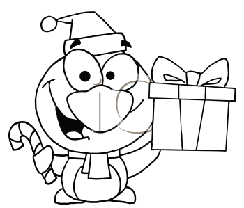 Royalty Free Clipart Image of a Penguin With a Candy Cane and Present
