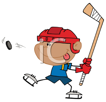 Royalty Free Clipart Image of a Hockey Player Taking a Shot