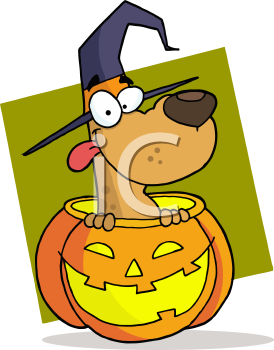 Royalty Free Clipart Image of a Dog in a Jack-o-lantern