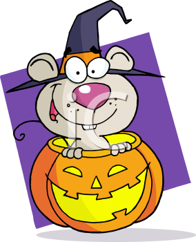 Royalty Free Clipart Image of a Mouse in a Jack-o-Lantern